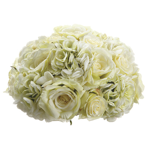 Artificial 12-inch Cream Green Rose/Hydrangea Half-Ball