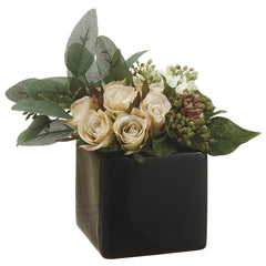 Artificial Rose/Viburnum Berry in Ceramic Vase - House of Silk Flowers®  - 3