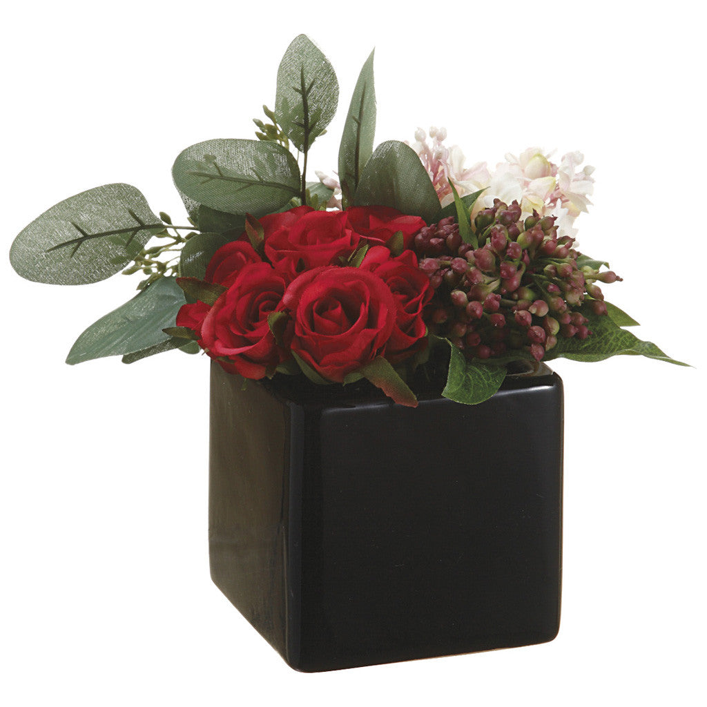 Artificial Rose/Viburnum Berry in Ceramic Vase - House of Silk Flowers®  - 1