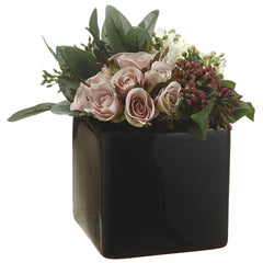 Artificial Rose/Viburnum Berry in Ceramic Vase - House of Silk Flowers®  - 2