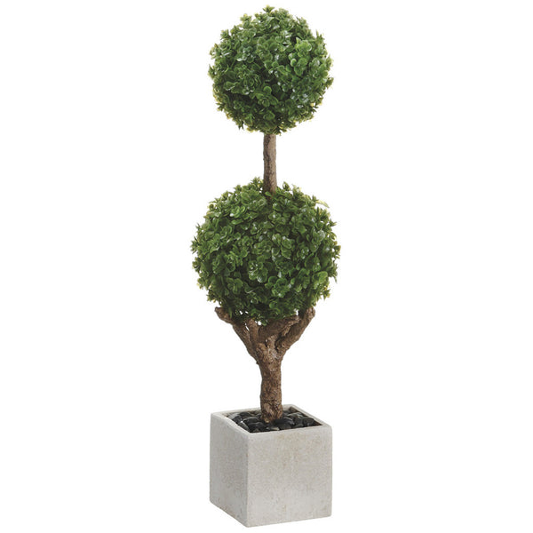 "Artificial 15.5"" Green Baby's Tear Double Ball Topiary in Paper Mache Pot - House of Silk Flowers®"