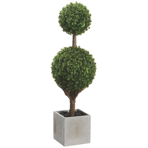"Artificial 18"" Green Baby's Tear Double Ball Topiary in Paper Mache Pot - House of Silk Flowers®"