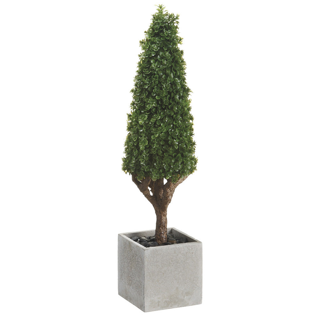 "Artificial 18.5"" Green Baby's Tear Cone Topiary in Paper Mache Pot - House of Silk Flowers®"