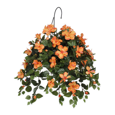 Artificial Hibiscus Hanging Basket - House of Silk Flowers®  - 2