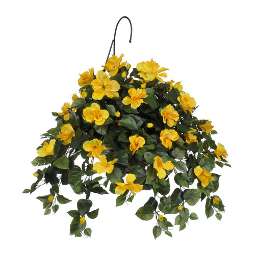 Artificial Hibiscus Hanging Basket - House of Silk Flowers®  - 5