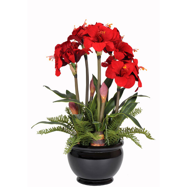 Artificial Amaryllis in Black Fishbowl - House of Silk Flowers®  - 1