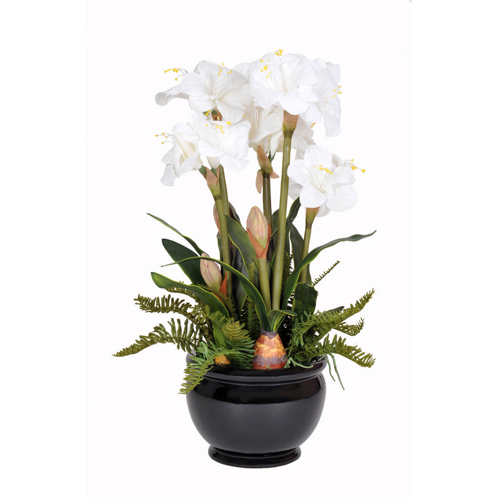 Artificial Amaryllis In Black Fishbowl House Of Silk Flowers