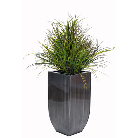 Artificial Ornamental Beach Grass in Square Zinc Planter - House of Silk Flowers®  - 1