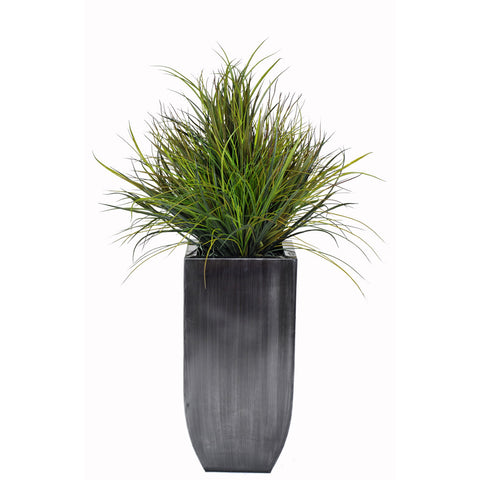Artificial Ornamental Beach Grass in Square Zinc Planter - House of Silk Flowers®  - 2