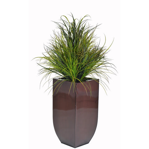 Artificial Ornamental Beach Grass in Square Zinc Planter - House of Silk Flowers®  - 3