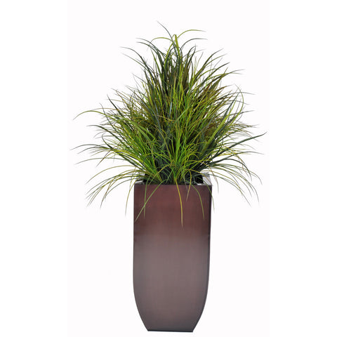 Artificial Ornamental Beach Grass in Square Zinc Planter - House of Silk Flowers®  - 4
