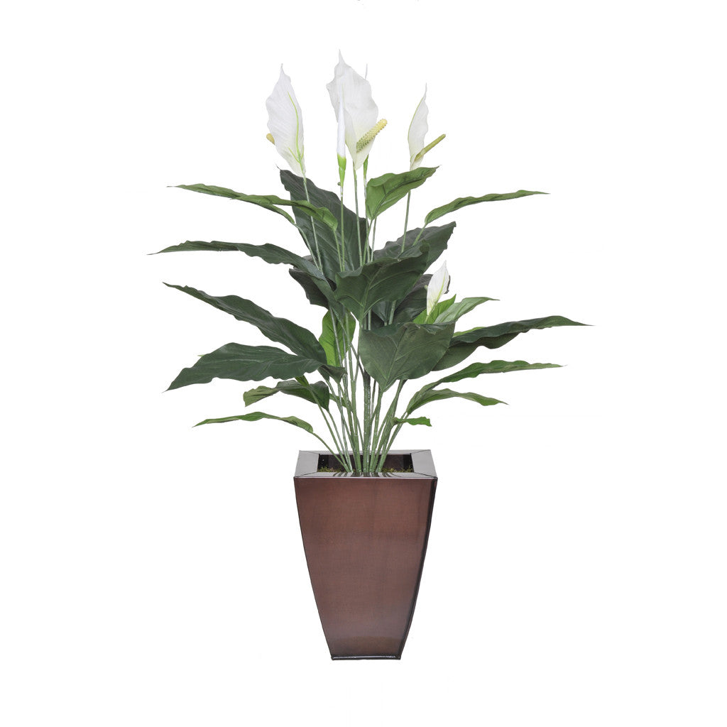 Artificial 2.5ft Spathphyllum in Zinc Planter - House of Silk Flowers®