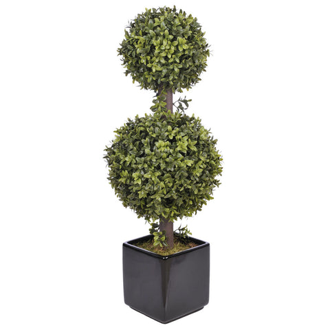Artificial 2-foot Double Ball Topiary in Cobalt Blue House of Silk Flowers®