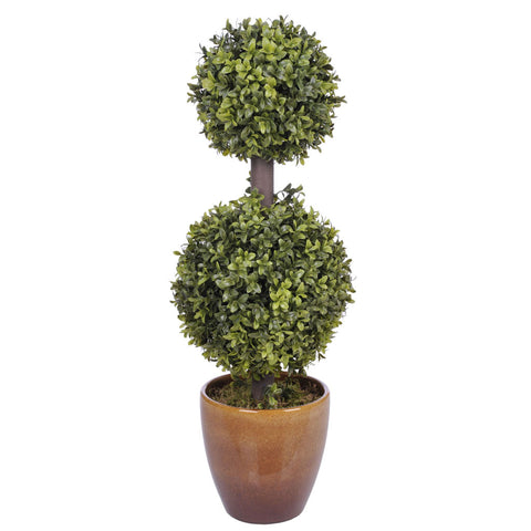 Artificial 2-foot Double Ball Topiary in Pot