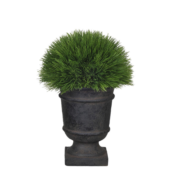 Artificial Green Pine Grass Half Ball Topiary in Stone-Look Urn