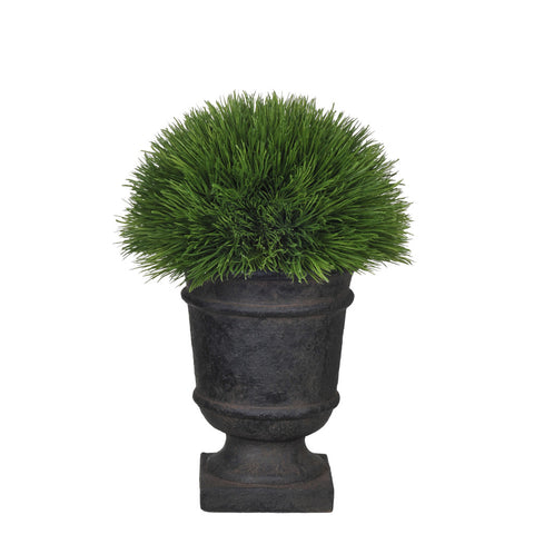 Artificial Pine Grass Half Ball Topiary in Stone-Look Urn - House of Silk Flowers®  - 1