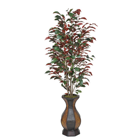Artificial 52-inch Ficus in Rattan Planter