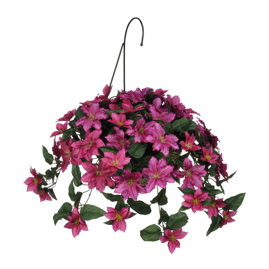 Artificial Clematis Hanging Basket - House of Silk Flowers®  - 2