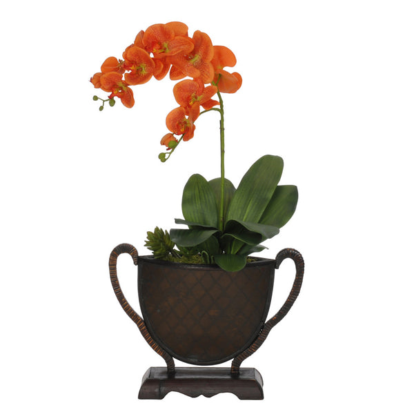 Artificial Orange Double-Stem Phalaenopsis Orchid in Rattan Vase