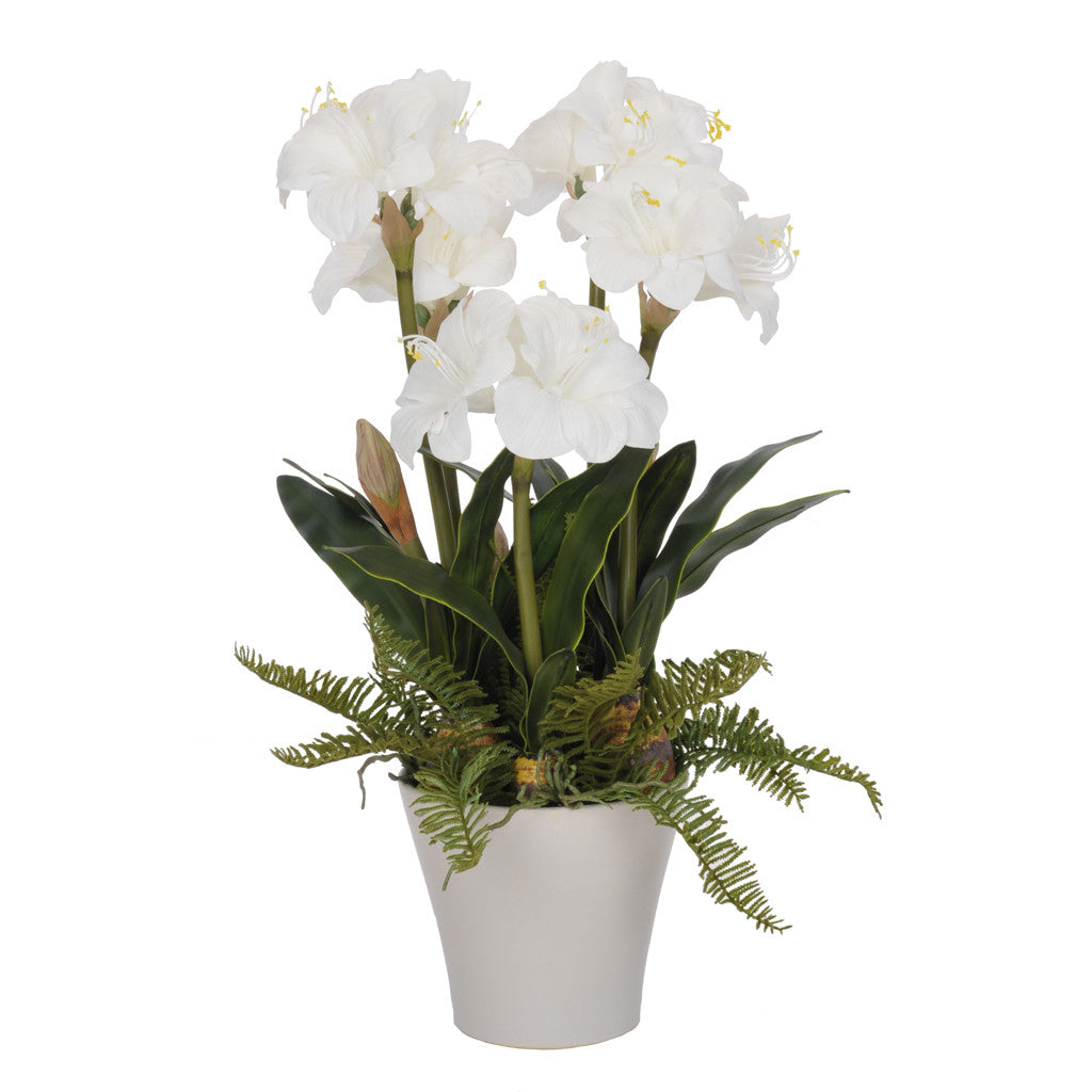 Artificial White Amaryllis in Matte White Vase - House of Silk Flowers®  - 1