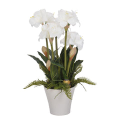 Artificial White Amaryllis in Matte White Vase - House of Silk Flowers®  - 2