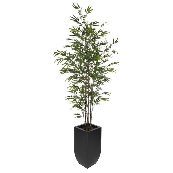 Artificial 7.5ft Black Bamboo Tree in Large Zinc