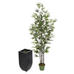 Artificial 7.5ft Black Bamboo Tree in Large Zinc - House of Silk Flowers®  - 3