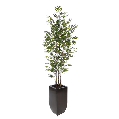 Artificial 7-1/2 foot Black Bamboo Tree in Large Zinc