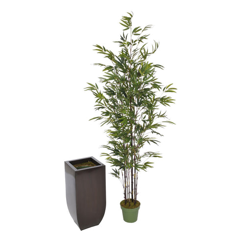 Artificial 7.5ft Black Bamboo Tree in Large Zinc - House of Silk Flowers®  - 6