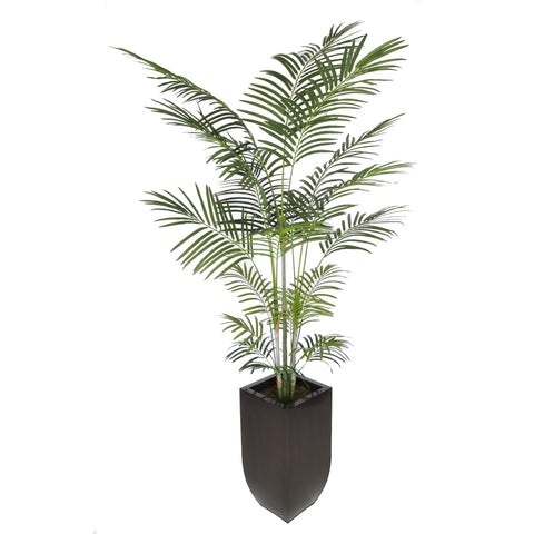 Artificial 7-1/2 foot Areca Palm Tree in Large Zinc
