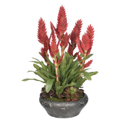 Artificial Bromeliad in Stone Bowl - House of Silk Flowers®  - 1