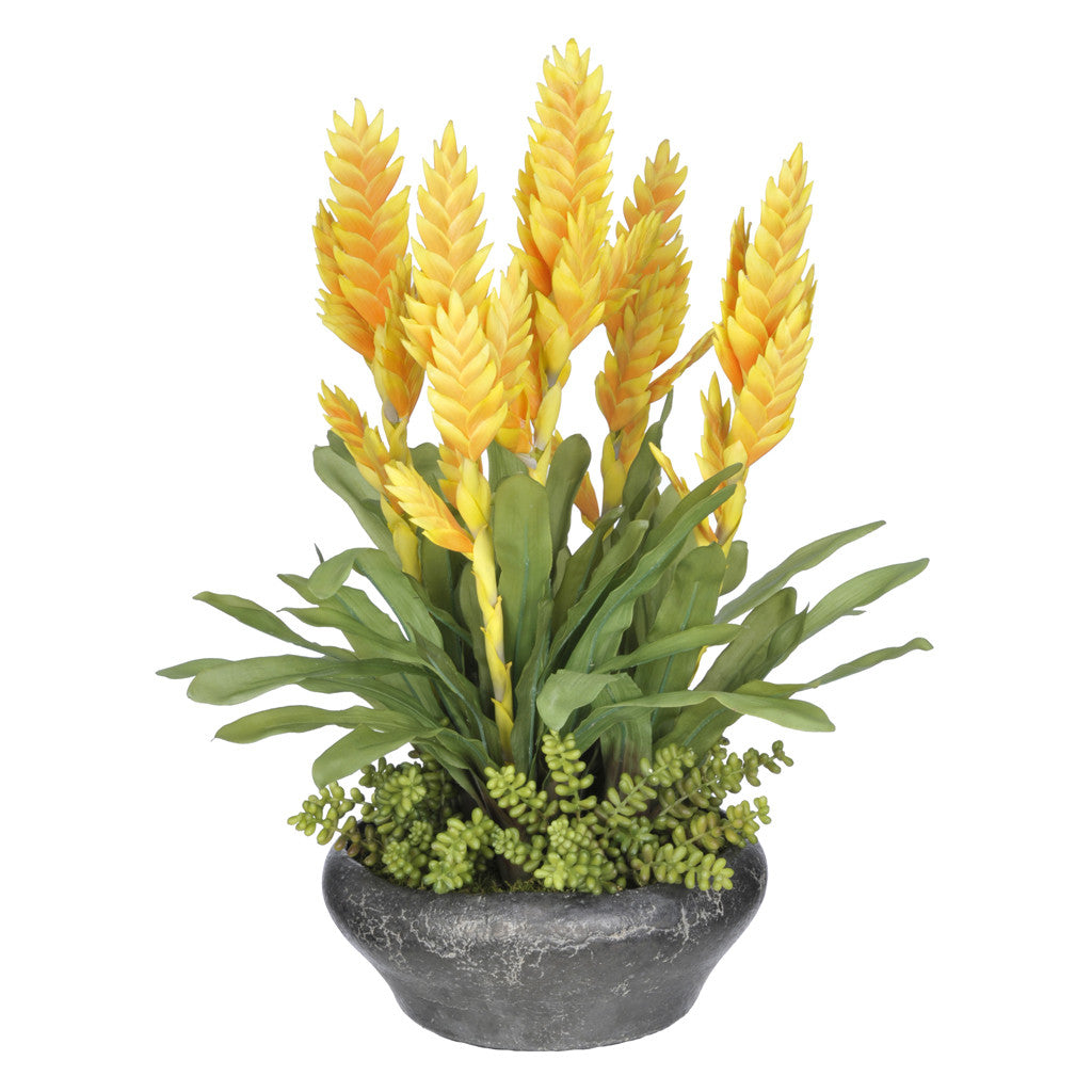 Artificial Bromeliad in Stone Bowl - House of Silk Flowers®  - 3