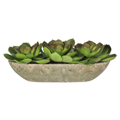 Artificial Echevarrias in Grey Crackle Boat - House of Silk Flowers®  - 4