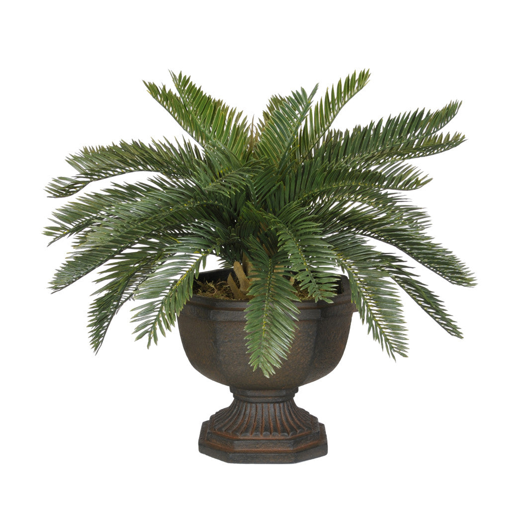 Artificial Baby Cycas Palm Tree in Antiqued Brown Garden Urn - House of Silk Flowers®  - 1