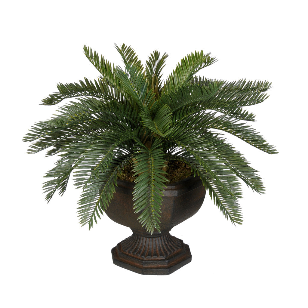 Artificial Baby Cycas Palm Tree in Antiqued Brown Garden Urn - House of Silk Flowers®  - 2