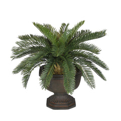 Artificial Baby Cycas Palm Tree in Antiqued Brown Garden Urn - House of Silk Flowers®  - 3