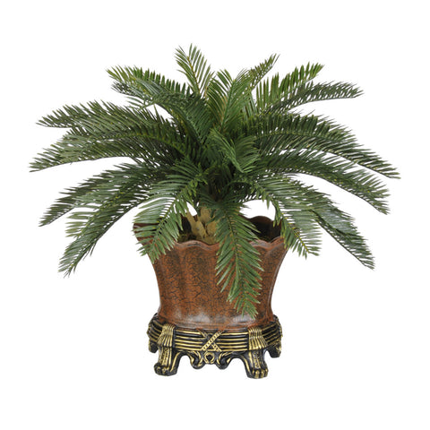 Artificial Baby Cycas Palm Tree in Brown Traditional Urn