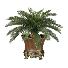 Artificial Baby Cycas Palm Tree in Brown Traditional Urn - House of Silk Flowers®  - 1