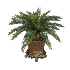Artificial Baby Cycas Palm Tree in Brown Traditional Urn - House of Silk Flowers®  - 2