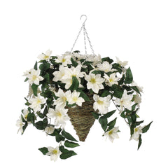 Artificial Clematis Hanging Basket - House of Silk Flowers®  - 6