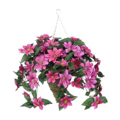 Artificial Clematis Hanging Basket - House of Silk Flowers®  - 4