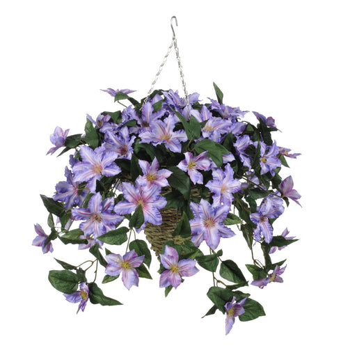Artificial Clematis Hanging Basket - House of Silk Flowers®  - 5