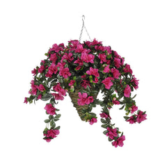 Artificial Azalea Hanging Basket - House of Silk Flowers®  - 4