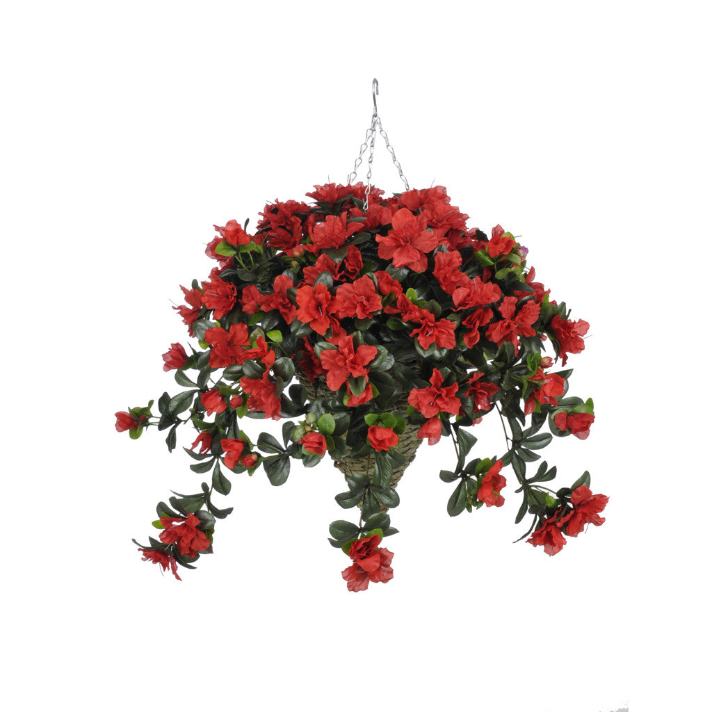 Artificial Azalea Hanging Basket - House of Silk Flowers®  - 6