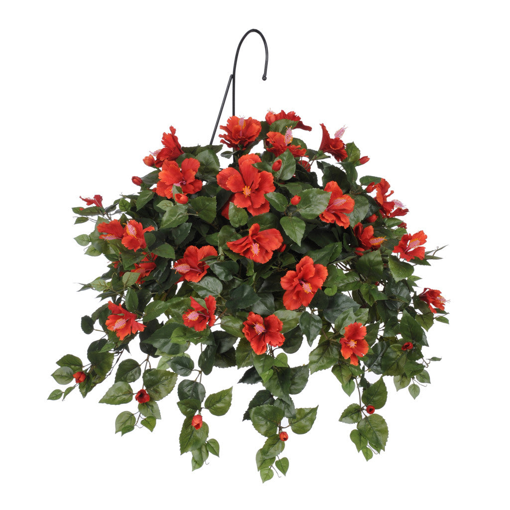 Artificial Hibiscus Hanging Basket - House of Silk Flowers®  - 3
