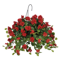 Artificial Geranium (WT) Hanging Basket - House of Silk Flowers®  - 1