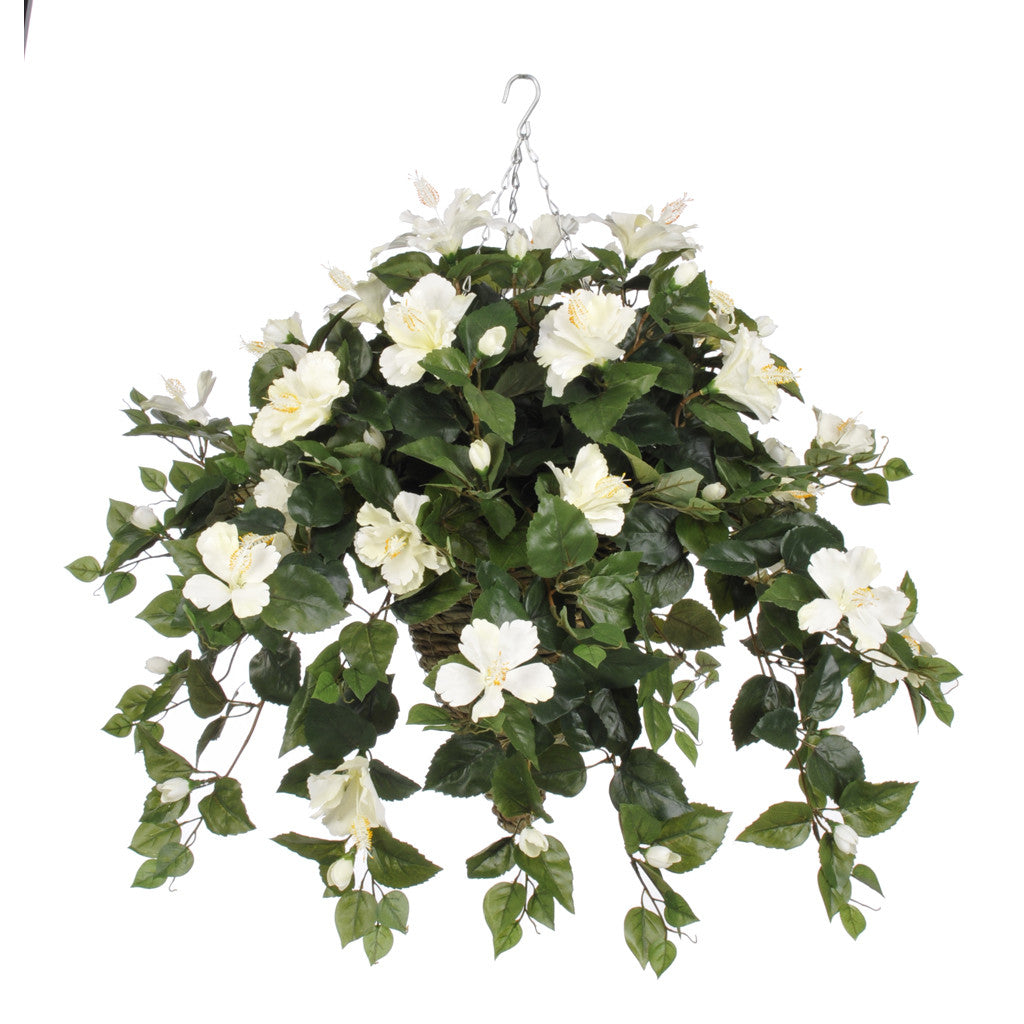 Artificial Hibiscus Hanging Basket - House of Silk Flowers®  - 6