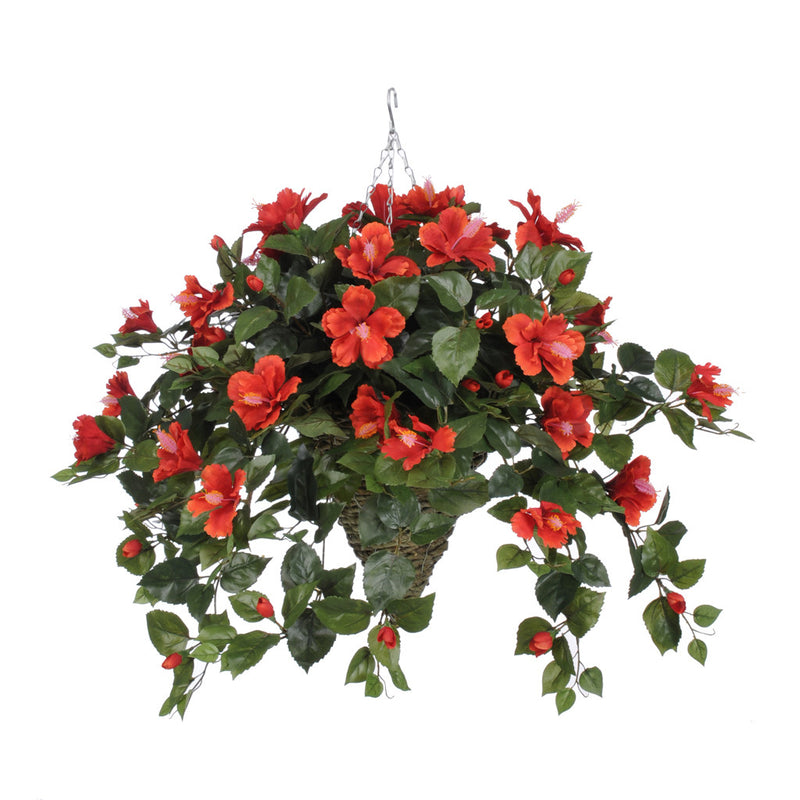 Artificial Hibiscus Hanging Basket - House of Silk Flowers®  - 8