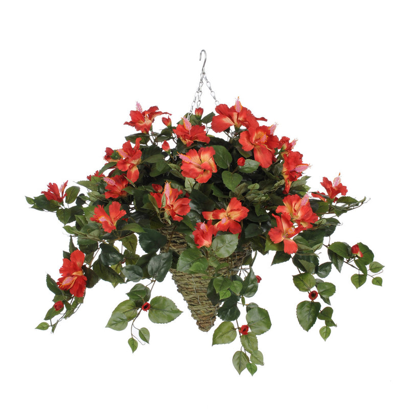 Artificial Hibiscus Hanging Basket - House of Silk Flowers®  - 9