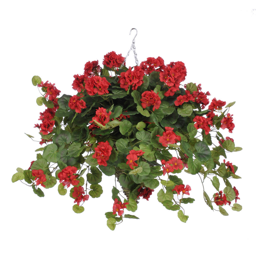 Artificial Geranium (WT) Hanging Basket - House of Silk Flowers®  - 3